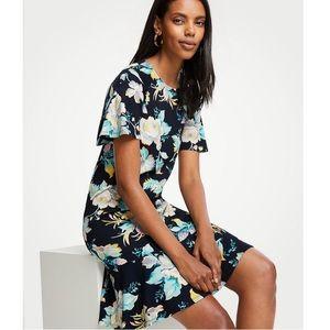 Ann Taylor Floral Print Flounce Hem Shift Dress